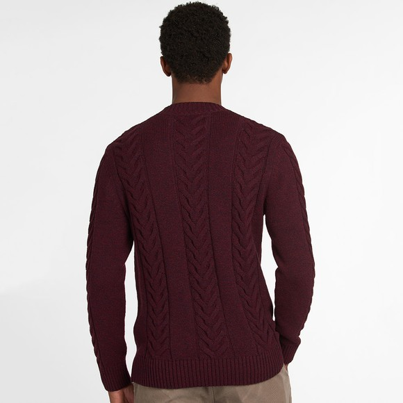 Barbour Lifestyle Mens Red Essential Cable Knit main image