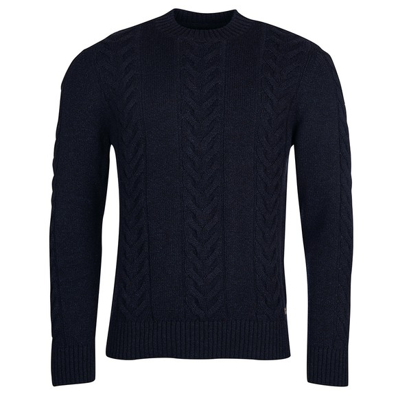 Barbour Lifestyle Mens Blue Essential Cable Knit