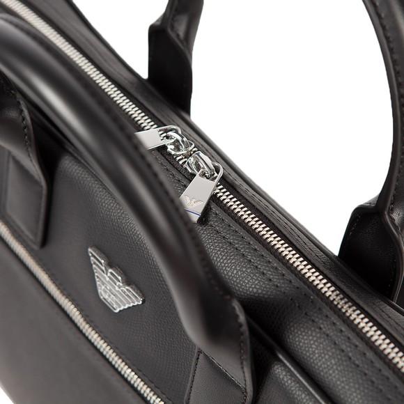 Emporio Armani Mens Black Metal Logo Twin Handle Bag