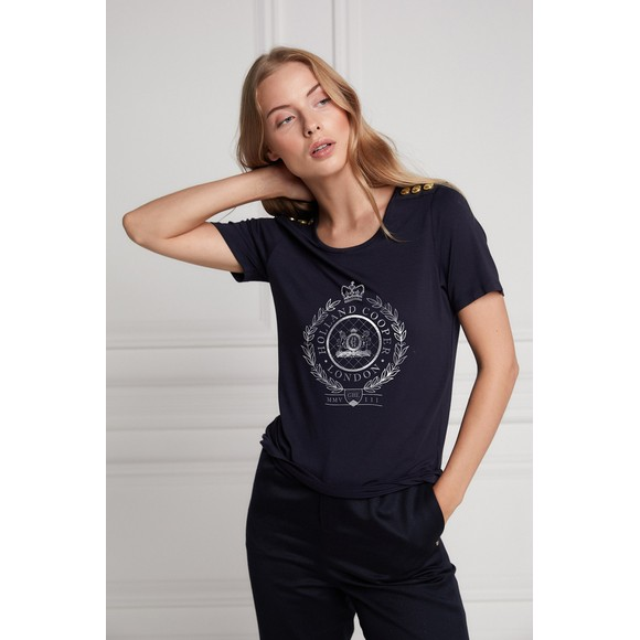 Holland Cooper Womens Blue Ornate Crest T Shirt