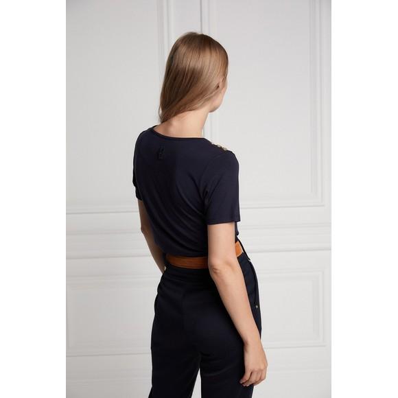 Holland Cooper Womens Blue Ornate Crest T Shirt main image