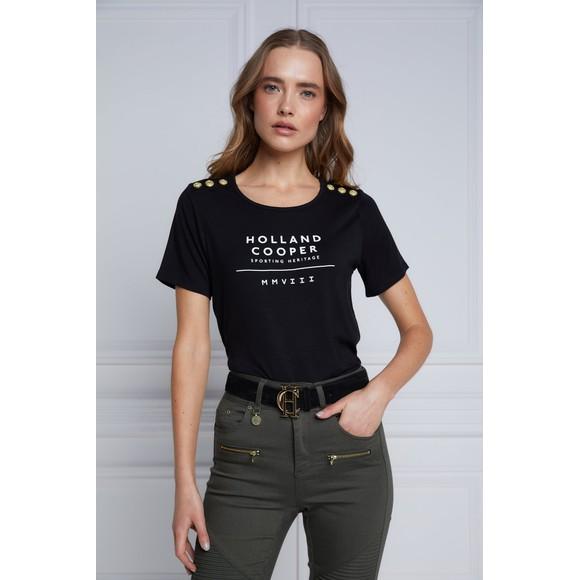 Holland Cooper Womens Black Serif T Shirt