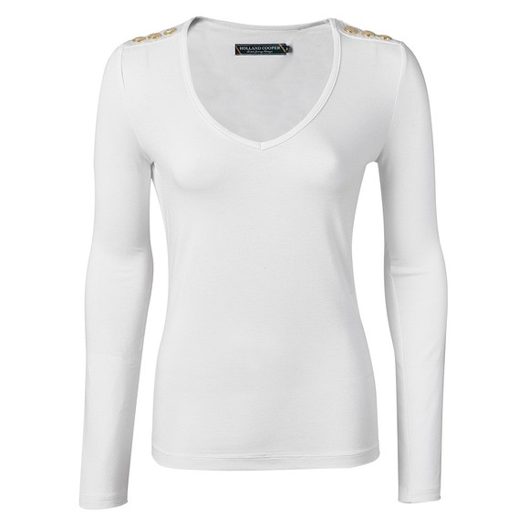Holland Cooper Womens White Long Sleeve V Neck T Shirt