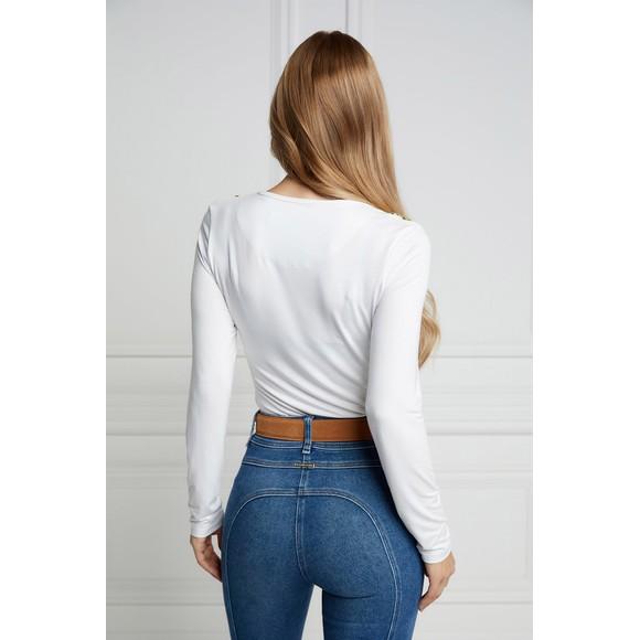 Holland Cooper Womens White Long Sleeve V Neck T Shirt main image