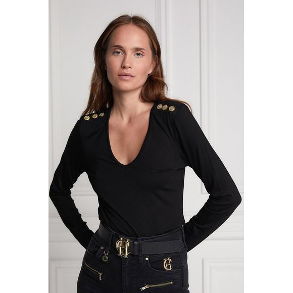 Holland Cooper Womens Black Long Sleeve V Neck T Shirt