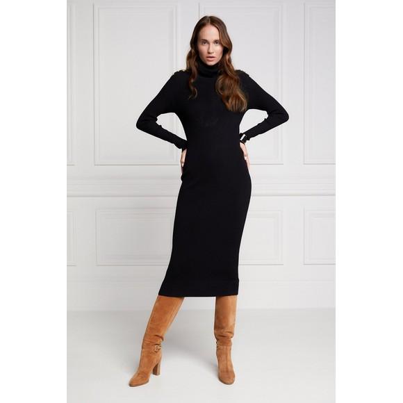 Holland Cooper Womens Black Kensington Midi Dress