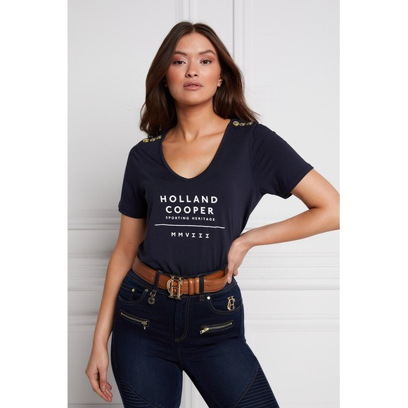 Holland Cooper Womens Blue Serif V Neck T Shirt