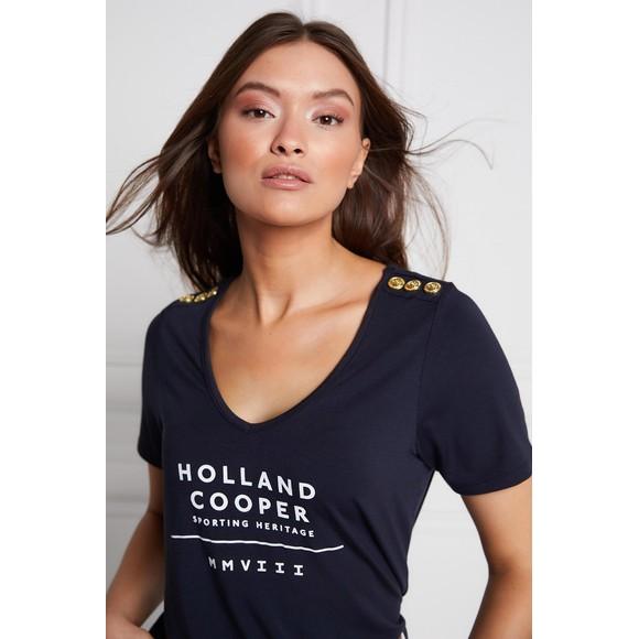 Holland Cooper Womens Blue Serif V Neck T Shirt main image