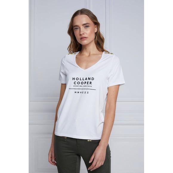 Holland Cooper Womens White Serif V Neck T Shirt