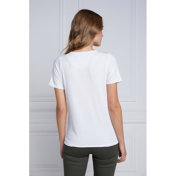 Holland Cooper Womens White Serif V Neck T Shirt main image