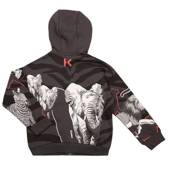 Kenzo Kids Boys Grey Camo Tiger Zip Hoody