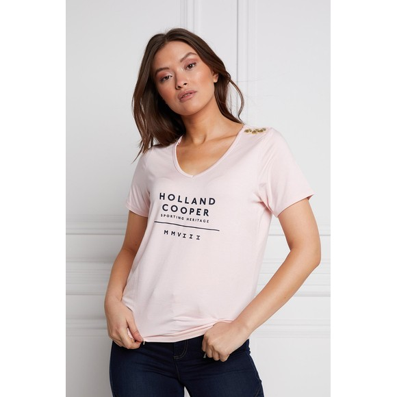 Holland Cooper Womens Pink Serif V Neck T Shirt