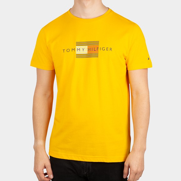 Tommy Hilfiger Mens Yellow Lines Hilfiger T-Shirt