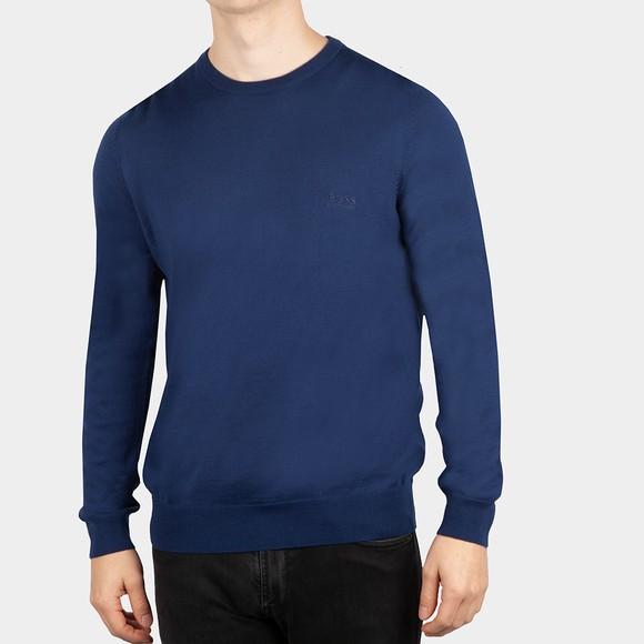 BOSS Mens Blue Formal Botto Knitted Crew Jumper