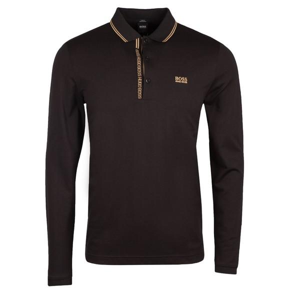 BOSS Mens Black Athleisure Pleesy 4 LS Polo Shirt