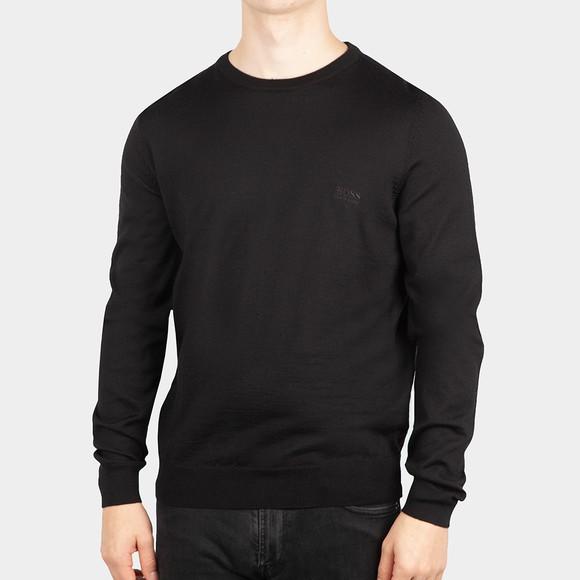 BOSS Mens Black Formal Botto Knitted Crew Jumper