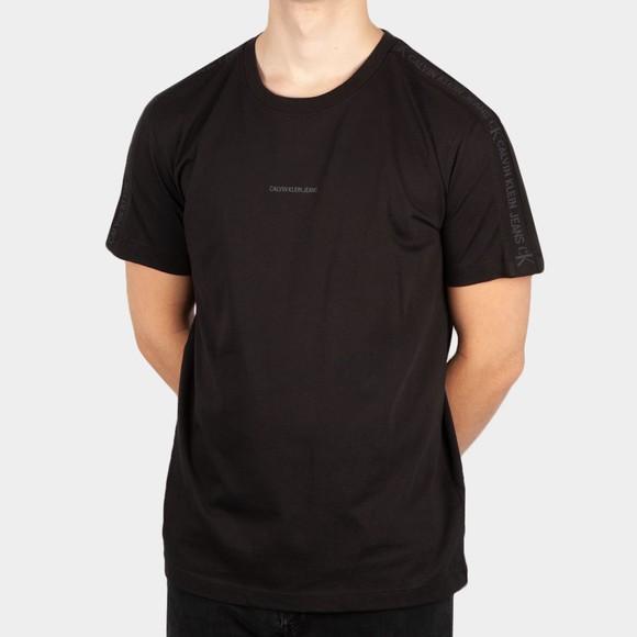 Calvin Klein Jeans Mens Black Logo Jacquard Shoulder T-Shirt
