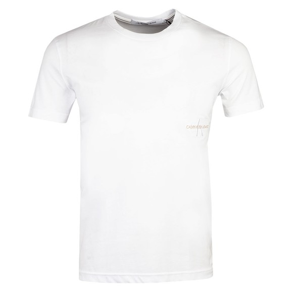 Calvin Klein Jeans Mens White Off Placed Iconic T-Shirt