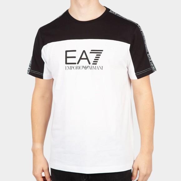 EA7 Emporio Armani Mens White Colour Block T-Shirt