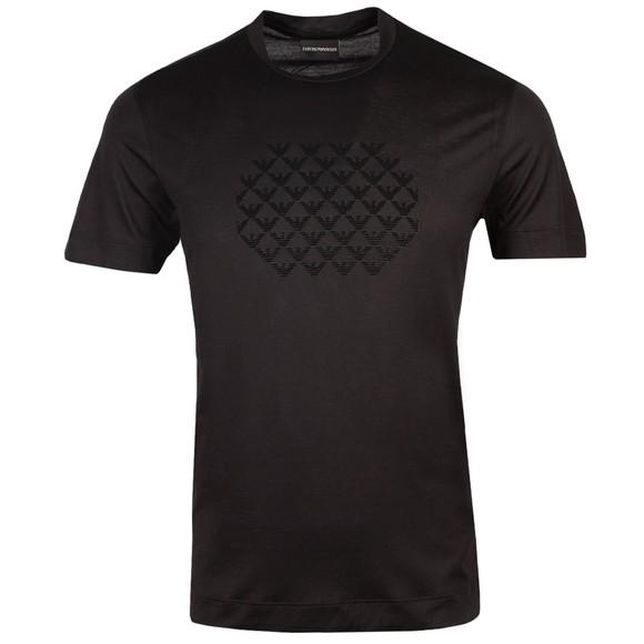 Emporio Armani Mens Black 6K1TA4 Stacked Logo T Shirt