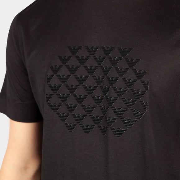 Emporio Armani Mens Black 6K1TA4 Stacked Logo T Shirt main image