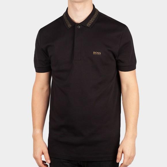 BOSS Mens Black Athleisure Paddy Pixel Polo Shirt