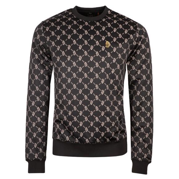 Luke Sport Mens Black Gazzas Tears Overprint Sweatshirt