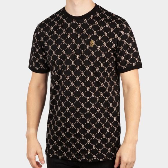 Luke Sport Mens Black Great Irons Overprinted T-Shirt