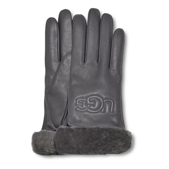 Ugg Womens Grey Classic Logo Leather Glove