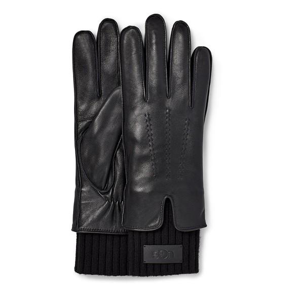 Ugg Womens Black Leather Tech & Knit Cuff Glove