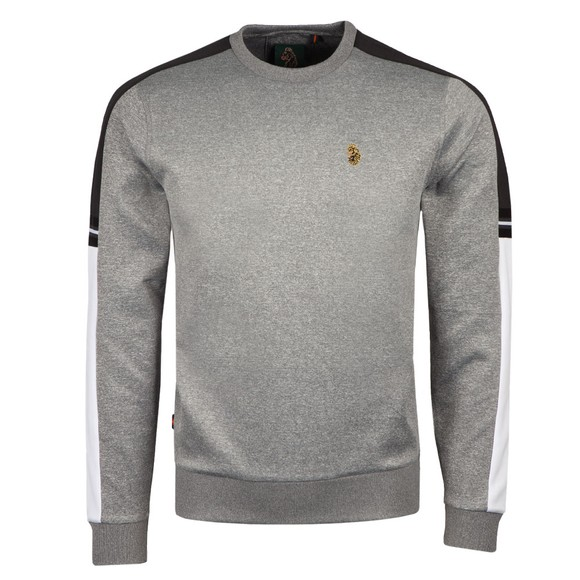 Luke Sport Mens Grey Patter Colour Block Sweatshirt