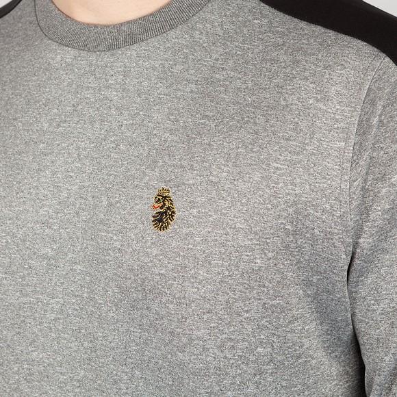 Luke Sport Mens Grey Patter Colour Block Sweatshirt main image