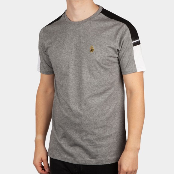 Luke Sport Mens Grey Hail Colour Block T-Shirt