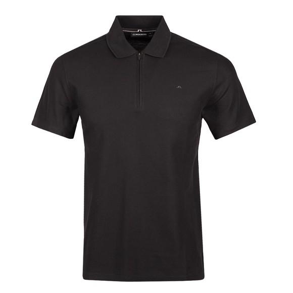 J.Lindeberg Mens Black Troy Quarter Zip Polo Shirt
