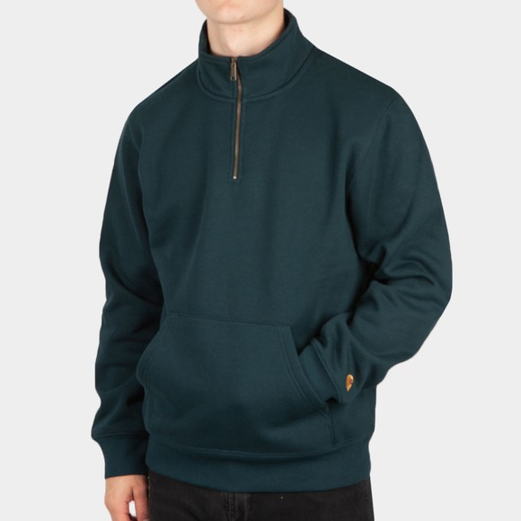 Carhartt WIP Mens Green Chase Half Zip Sweatshirt