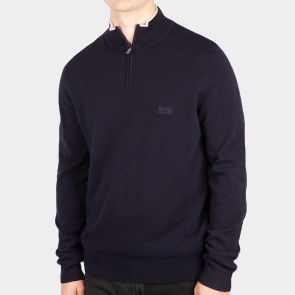 BOSS Mens Blue Barlo-N Half Zip Knitted Jumper