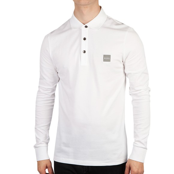 BOSS Mens White Casual Passerby 1 Long Sleeve Polo Shirt