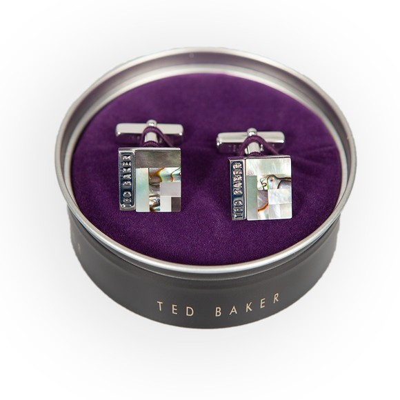 Ted Baker Mens Grey Burro Deco Style Shell Cufflink
