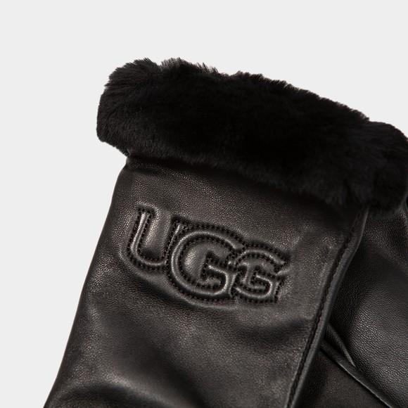 Ugg Womens Black Classic Logo Leather Glove