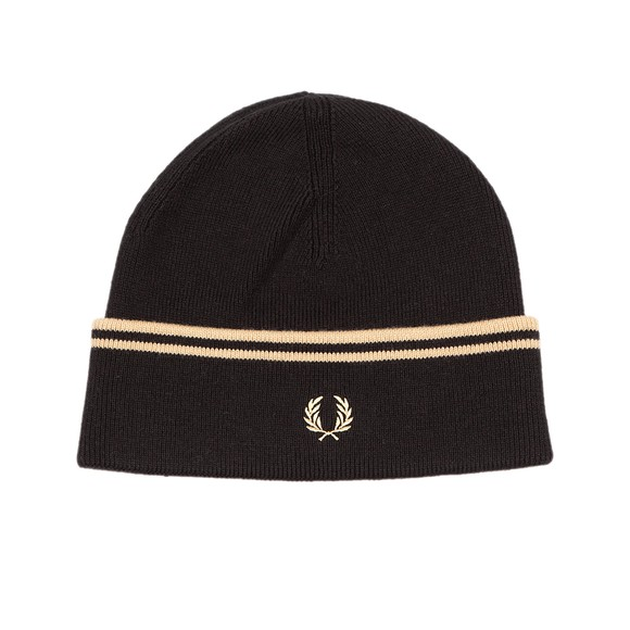 Fred Perry Mens Black Twin Tipped Merino Wool Beanie main image