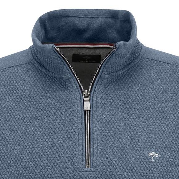 Fynch Hatton Mens Blue 1/2 Zip Troyer Sweatshirt