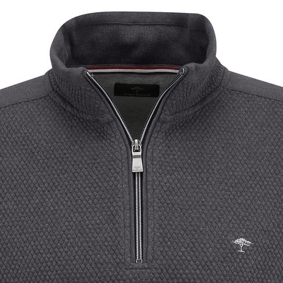 Fynch Hatton Mens Grey 1/2 Zip Troyer Sweatshirt