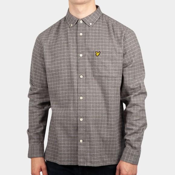 Lyle and Scott Mens Grey Grid Check Shirt