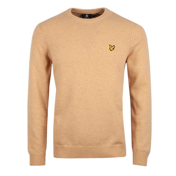 Lyle and Scott Mens Brown Crew Neck Lambswool Blend Jumper