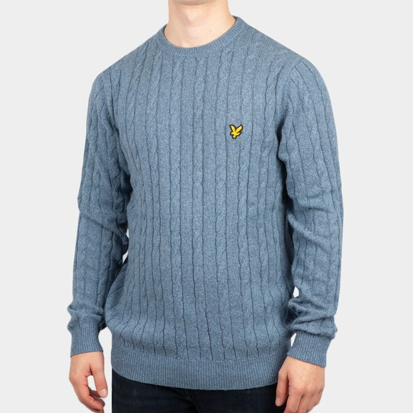 Lyle and Scott Mens Blue Cable Jumper