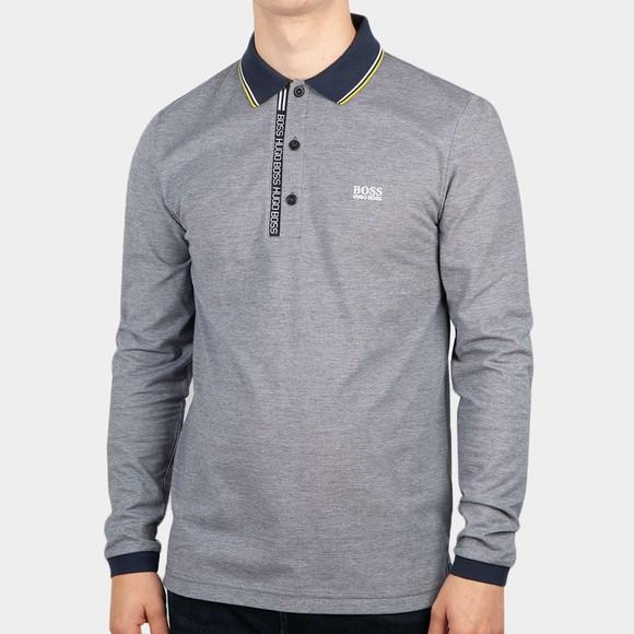 BOSS Mens Blue Athleisure Pleesy 4 LS Polo Shirt