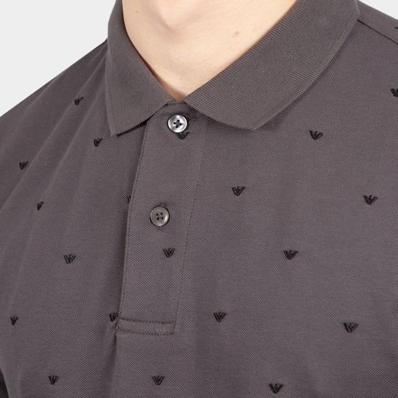 Emporio Armani Mens Grey 6K1F69 Allover Pattern Polo Shirt main image