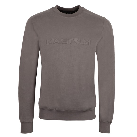Ma.Strum Mens Grey Embossed Logo Crew Sweatshirt