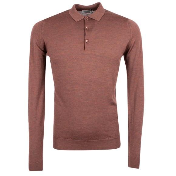 John Smedley Mens Orange Belper Long Sleeve Polo Shirt
