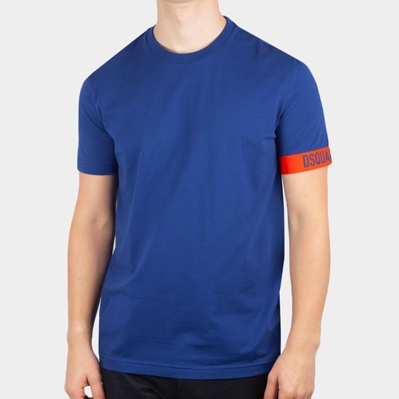 Dsquared2 Mens Blue Logo Tape Sleeve T Shirt